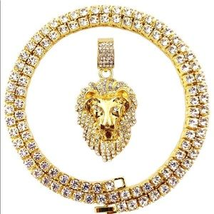 14k Gold and Diamond - Lion Chain